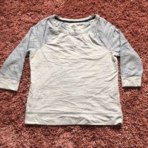 Blue and grey 3/4 inch sleeve shirt